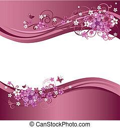 Dos fronteras florales rosas