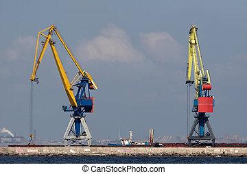 Dos grullas enormes en el puerto