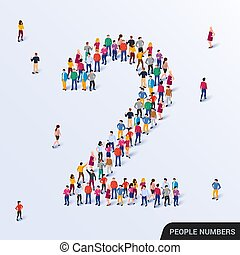 dos, grupo, forma, 2, grande, gente, número