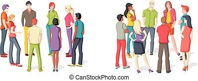 Dos grupos de personas reuniéndose.