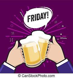 Dos hombres con tazas de cerveza. Gafas de cerveza tintineando espuma, conociendo amigos, brindando o cerveza el viernes. Bebida alcohólica ligera, espuma fresca.