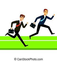 Dos hombres de negocios corriendo con maletín, gente de negocios compitiendo con vectores de ilustración