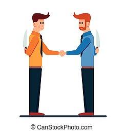 Dos hombres de negocios dando la mano con un cuchillo en la espalda