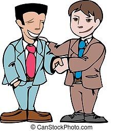 Dos hombres estrechando la mano