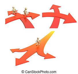 dos, ir, límite, direcciones, flechas, cubrir, diferente, specifying, 3d