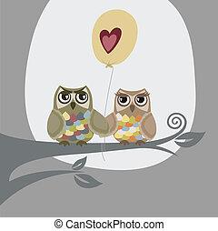 Dos lechuzas y un globo de amor