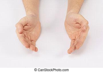 Dos manos abiertas de un hombre de negocios en una mesa blanca.