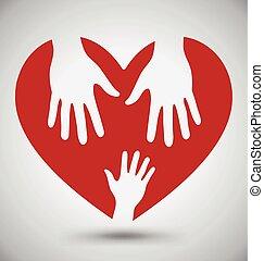 Dos manos de ayuda en el corazón rojo