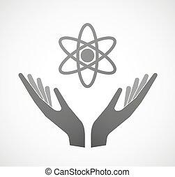 Dos manos ofreciendo un átomo