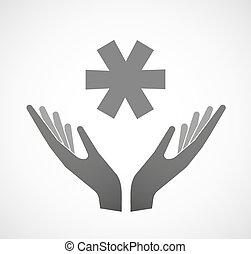 Dos manos ofreciendo un asterisco