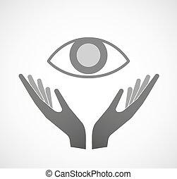 Dos manos ofreciendo un ojo