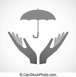 Dos manos ofreciendo un paraguas