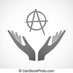 Dos manos ofreciendo un signo de anarquía