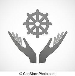 Dos manos ofreciendo un signo de dharma chakra