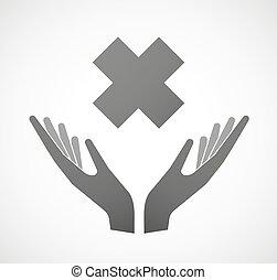 Dos manos ofreciendo un signo de sustancia irritante