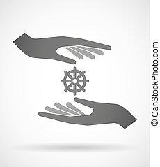 Dos manos protegiendo o dando una señal de dharma chakra