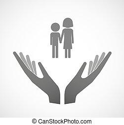 Dos manos vectoriales ofreciendo un pictograma infantil