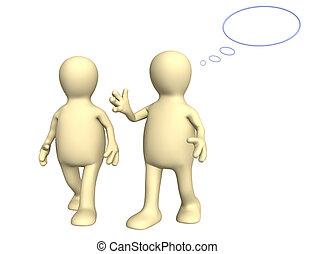 Dos marionetas, hablando a pie
