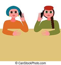 Dos mujeres hablando en tu teléfono móvil