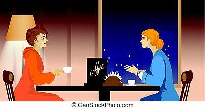 Dos mujeres hablando en un café
