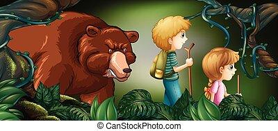 Dos niños caminando en un bosque profundo con osos detrás