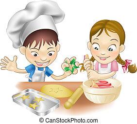 Dos niños divirtiéndose en la cocina