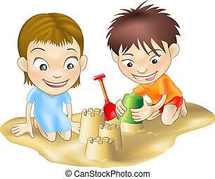 Dos niños jugando en la arena