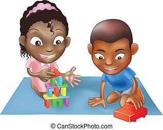 Dos niños jugando