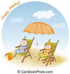 Dos niños se sientan en la playa