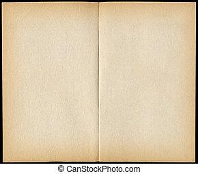 Dos páginas de libros en blanco aislados en negro.