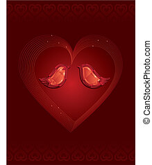 Dos pájaros de amor de diamantes