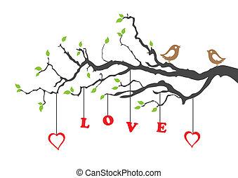 Dos pájaros de amor y un árbol de amor