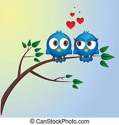 Dos pájaros enamorados