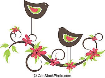 Dos pájaros enamorados. Vector