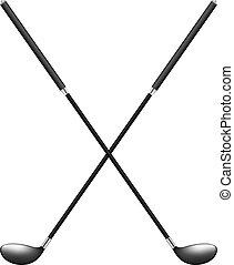 Dos palos de golf cruzados