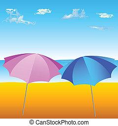 Dos paraguas en la playa