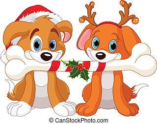 Dos perros de Navidad