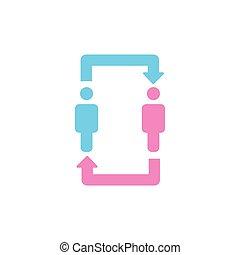 Dos personas de comunicación y icono de relaciones. Hombres y mujeres con icono de flechas. Relación, discusión, traducción y intercambio de ideas. Ilustración de vectores.