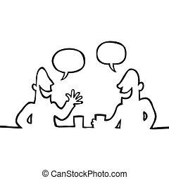 Dos personas teniendo una conversación amistosa