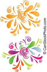 Dos remolinos de diseño, naranja y colorido