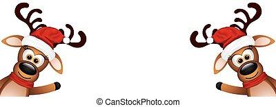 Dos renos graciosos en un fondo blanco.