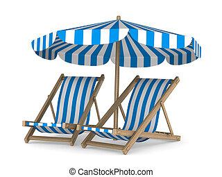 Dos sillones y sombrilla de fondo blanco. Imagen 3D aislada