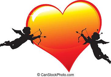 Dos siluetas con corazón
