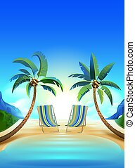 Dos soles y dos palmeras en la playa tropical