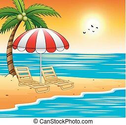 Dos sombrillas y sombrillas en una playa con puesta de sol