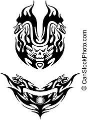 Dos tatuajes de bicicleta tribales