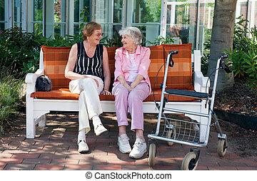 Dos viejos amigos charlando en un banco del parque