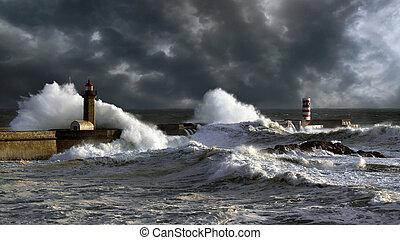 douro, puerto, ocaso, tempestuoso