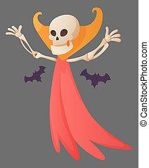 dracula, vector, huesos, divertido, plano de fondo, skeletal., ilustración, esqueleto, humano, character., huesudo, muerto, color, caricatura, hin, capa, posar, bats., hombre