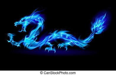 Dragón de fuego azul